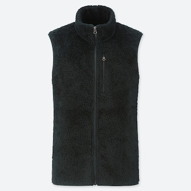 MEN FLUFFY YARN FLEECE FULL-ZIP VEST, DARK GREEN, medium