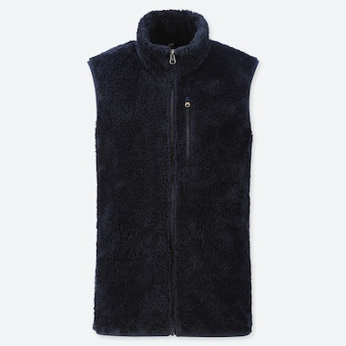 MEN FLUFFY YARN FLEECE FULL-ZIP VEST, NAVY, medium