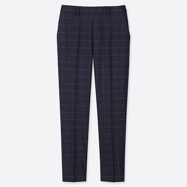WOMEN EZY WINDOWPANE ANKLE-LENGTH PANTS, NAVY, medium