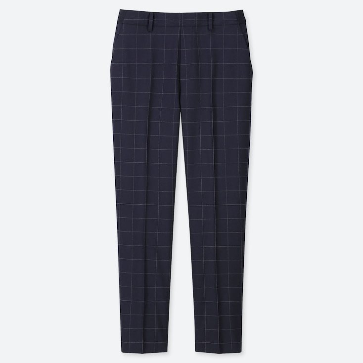 WOMEN EZY WINDOWPANE ANKLE-LENGTH PANTS, NAVY, large