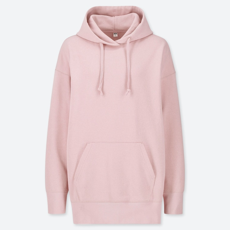 WOMEN BIG SWEAT LONG-SLEEVE PULLOVER HOODIE (ONLINE EXCLUSIVE), PINK, large