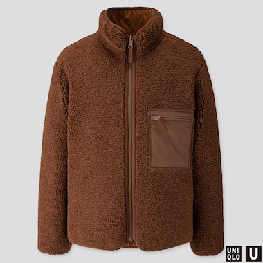 MEN U PILE-LINED FLEECE REVERSIBLE JACKET, BROWN, medium