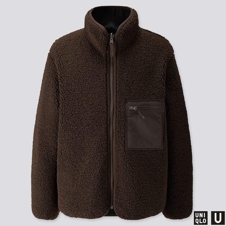Men U Pile-Lined Fleece Reversible Jacket, Dark Brown, Large