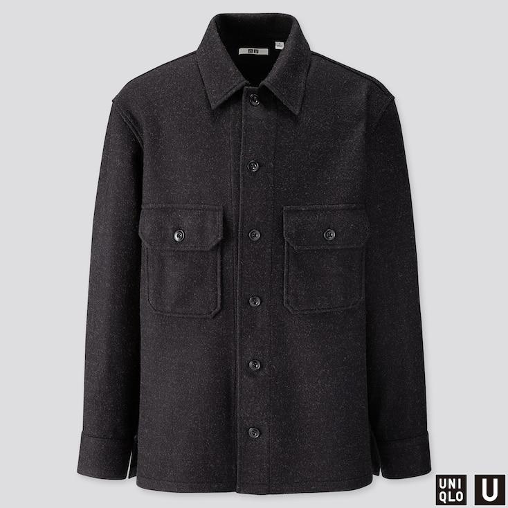 Men U Long-sleeve Fleece Shirt Jacket, Dark Gray, Large