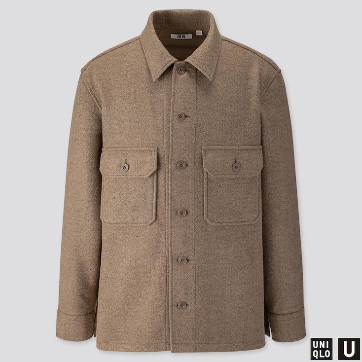 Men U Long-sleeve Fleece Shirt Jacket, Beige, Large