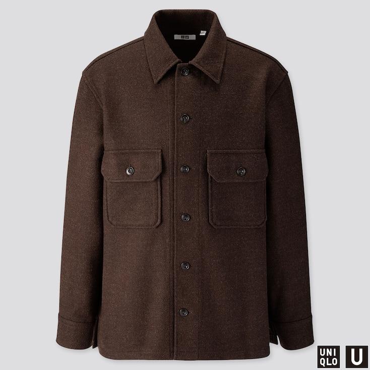 Men U Long-sleeve Fleece Shirt Jacket, Dark Brown, Large