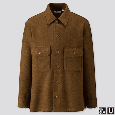 MEN UNIQLO U LONG SLEEVED FLEECE SHIRT JACKET