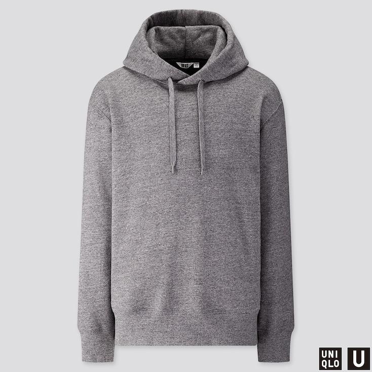 Men U Long-sleeve Hooded Sweatshirt, Gray, Large
