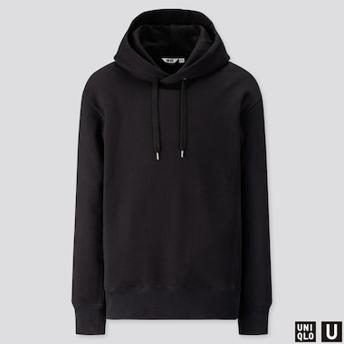 MEN U LONG-SLEEVE HOODED SWEATSHIRT, BLACK, medium