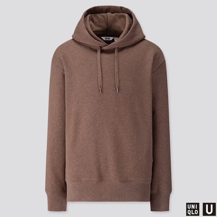 MEN U LONG-SLEEVE HOODED SWEATSHIRT, BROWN, large