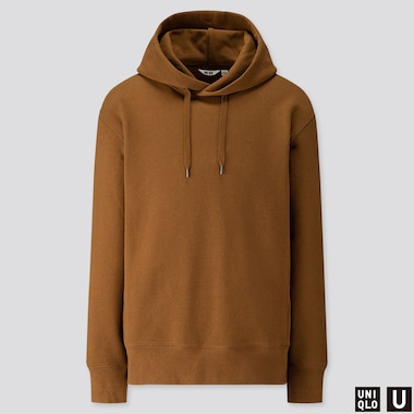 MEN U LONG-SLEEVE HOODED SWEATSHIRT, MUSTARD, medium
