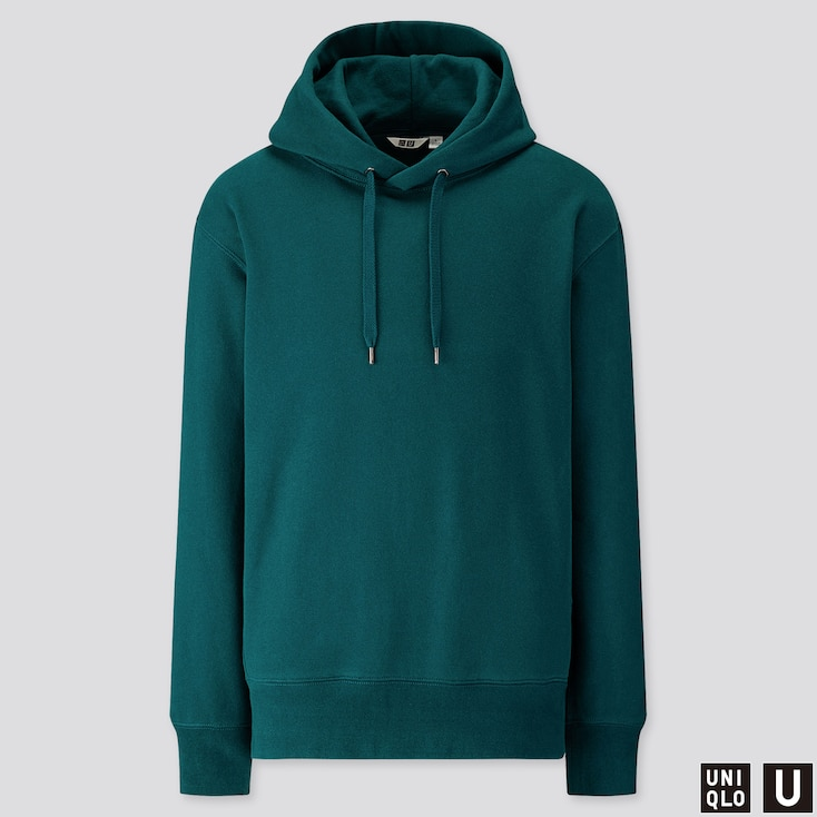 Men U Long-sleeve Hooded Sweatshirt, Green, Large