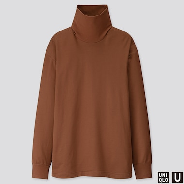 MEN U TURTLENECK LONG-SLEEVE T-SHIRT, BROWN, medium