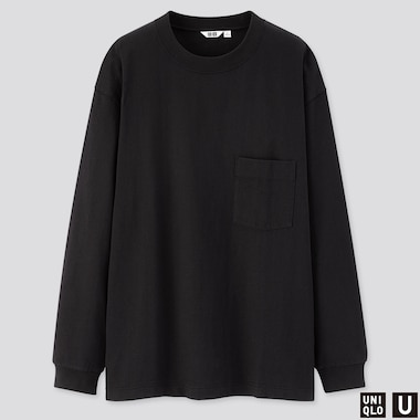 MEN U CREW NECK LONG-SLEEVE T-SHIRT, BLACK, medium