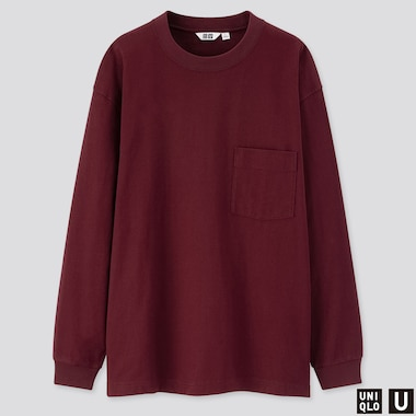 MEN U CREW NECK LONG-SLEEVE T-SHIRT, WINE, medium