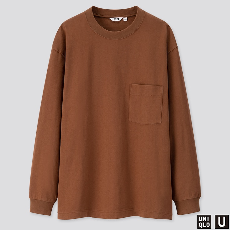 MEN U CREW NECK LONG-SLEEVE T-SHIRT, BROWN, large