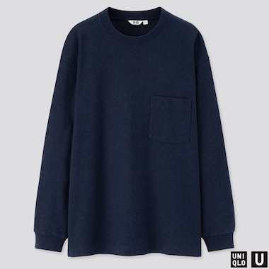 MEN U CREW NECK LONG-SLEEVE T-SHIRT, NAVY, medium