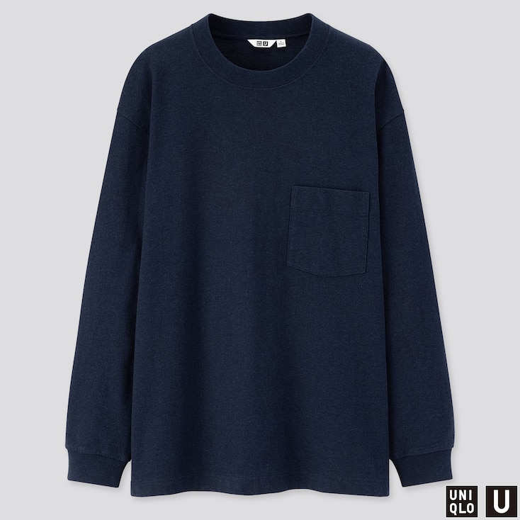 MEN U CREW NECK LONG-SLEEVE T-SHIRT, NAVY, large