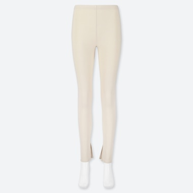 WOMEN RIBBED SPLIT CUFF LEGGINGS