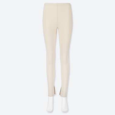 WOMEN RIBBED SLIT LEGGINGS, OFF WHITE, medium