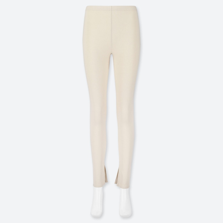 Women Ribbed Slit Leggings, Off White, Large