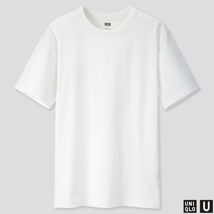 MEN U CREW NECK SHORT-SLEEVE T-SHIRT, WHITE, large