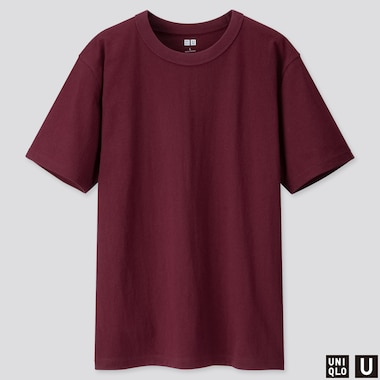 MEN U CREW NECK SHORT-SLEEVE T-SHIRT, WINE, medium