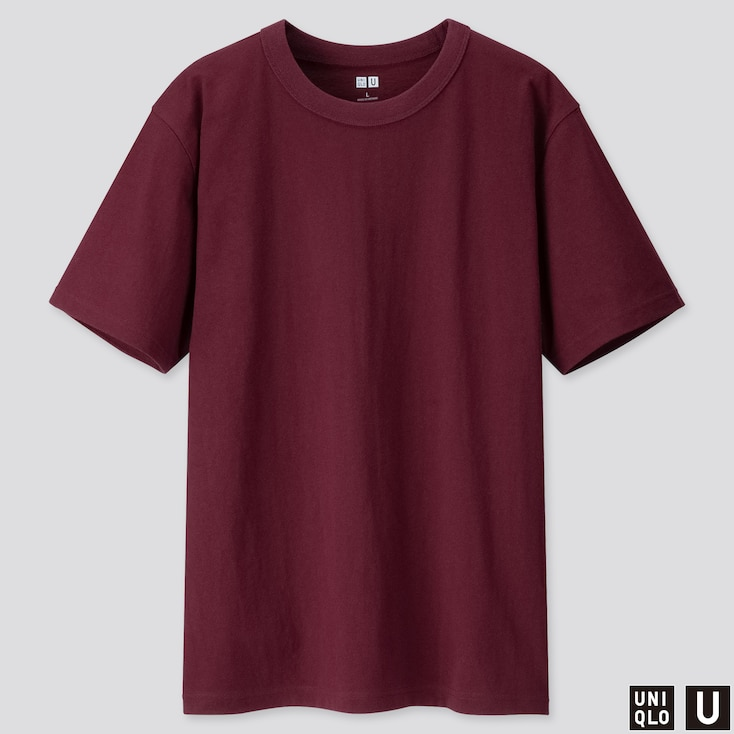 Men U Crew Neck Short-Sleeve T-Shirt, Wine, Large