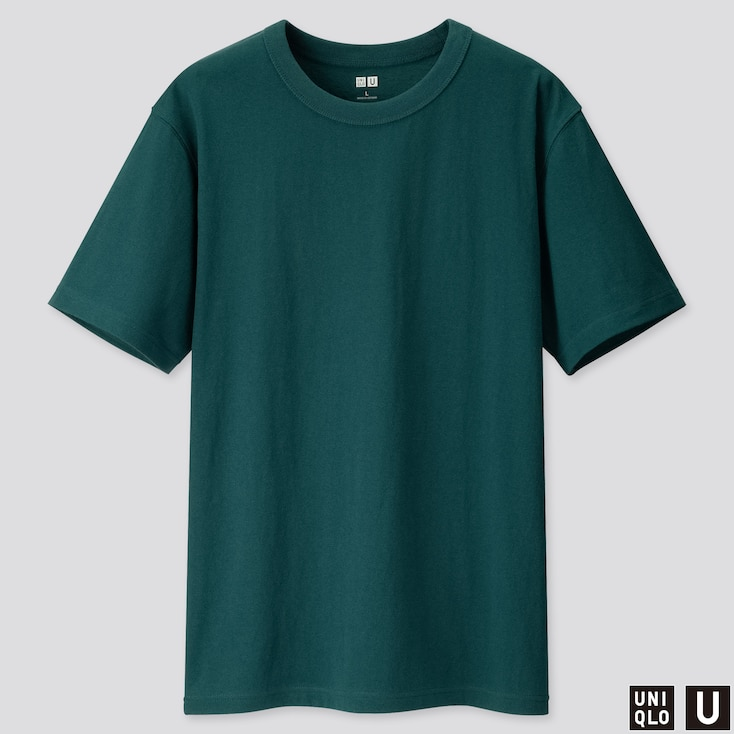 MEN U CREW NECK SHORT-SLEEVE T-SHIRT, GREEN, large