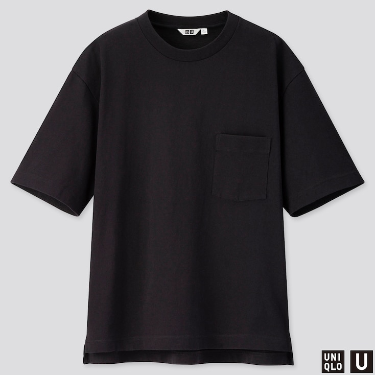 MEN U OVERSIZED CREW NECK SHORT-SLEEVE T-SHIRT, BLACK, large