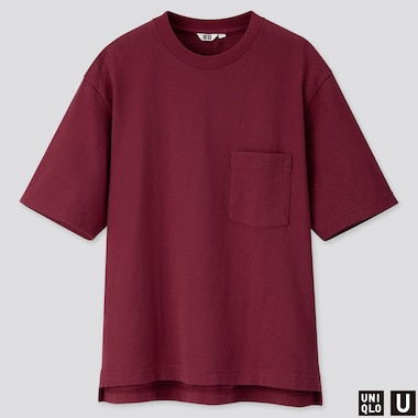 MEN U OVERSIZED CREW NECK SHORT-SLEEVE T-SHIRT, WINE, medium