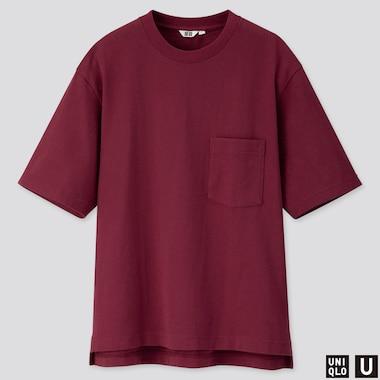MEN U OVERSIZED CREW NECK SHORT-SLEEVE T-SHIRT, WINE, medium