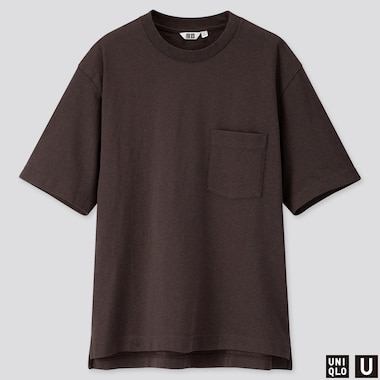 MEN U OVERSIZED CREW NECK SHORT-SLEEVE T-SHIRT, DARK BROWN, medium