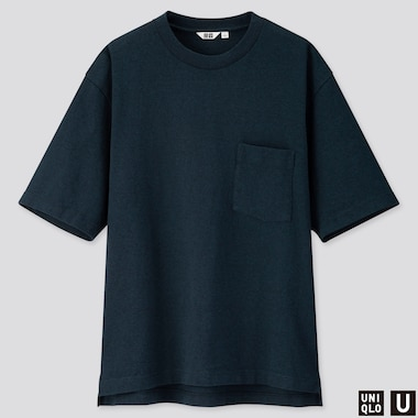 MEN U OVERSIZED CREW NECK SHORT-SLEEVE T-SHIRT, NAVY, medium