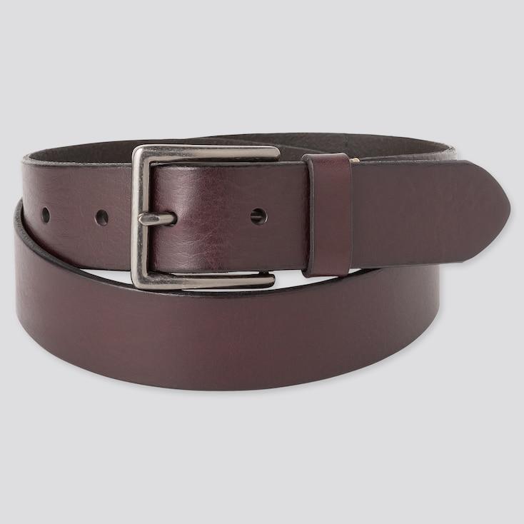 Men Italian Leather Vintage Belt, Dark Brown, Large