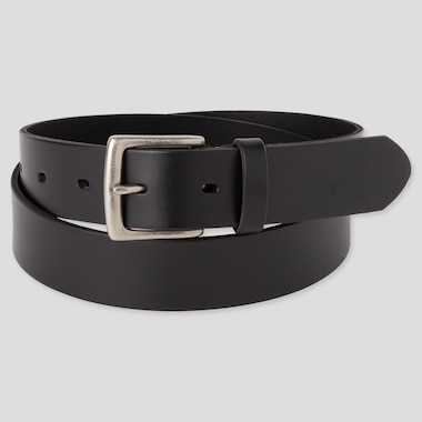 Men Italian Oiled-Leather Belt, Black, Medium
