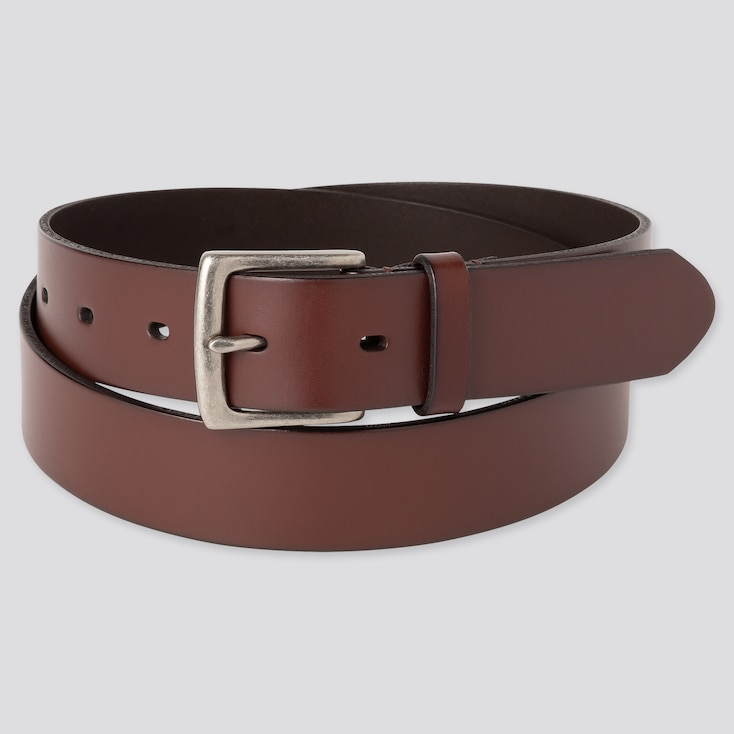 Men Italian Oiled-Leather Belt, Brown, Large