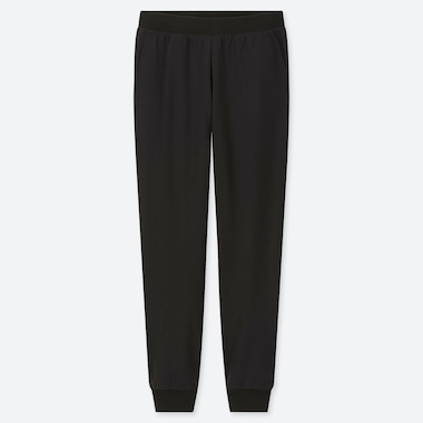 WOMEN STRETCH PILE-LINED FLEECE PANTS, BLACK, medium