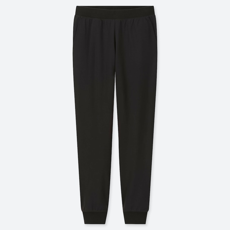 WOMEN STRETCH PILE-LINED FLEECE PANTS, BLACK, large