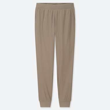 WOMEN STRETCH PILE-LINED FLEECE PANTS, BEIGE, medium