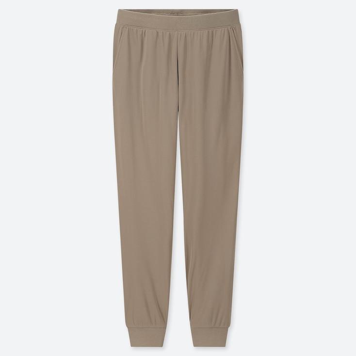 WOMEN STRETCH PILE-LINED FLEECE PANTS, BEIGE, large