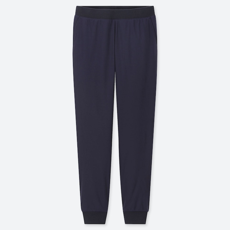 WOMEN STRETCH PILE-LINED FLEECE PANTS, NAVY, large