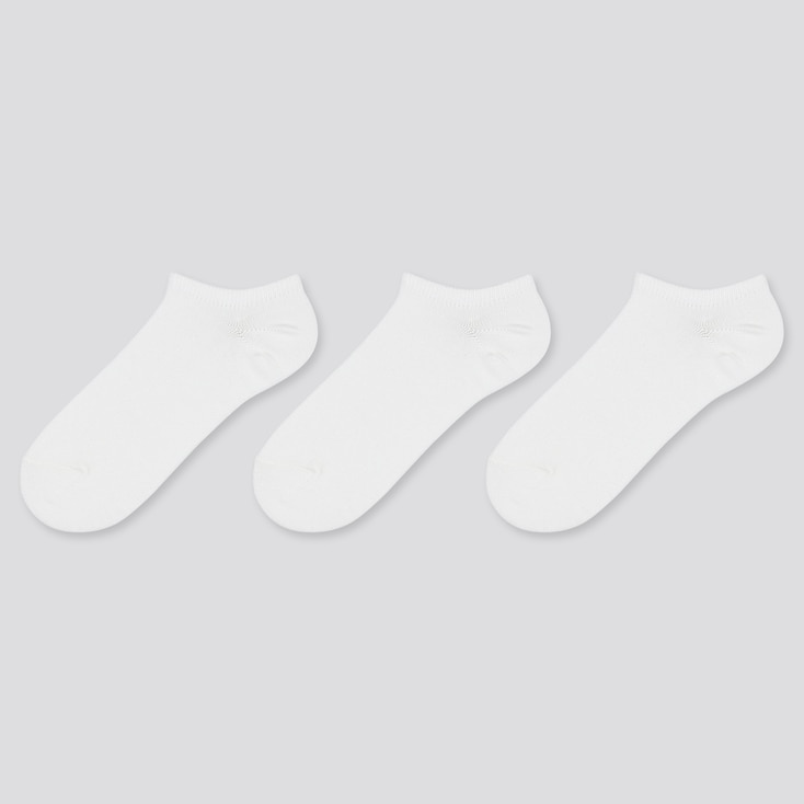 WOMEN SHORT SOCKS (3 PAIRS), WHITE, large