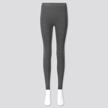 Women Heattech Extra Warm Pile-Lined Leggings, Gray, Medium