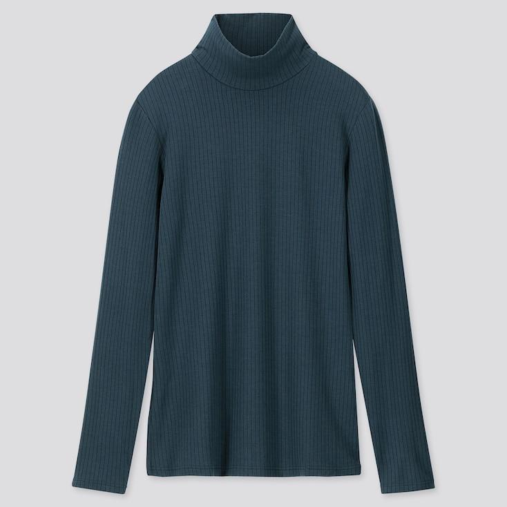 WOMEN HEATTECH EXTRA WARM RIBBED HIGH-NECK T-SHIRT, DARK GREEN, large