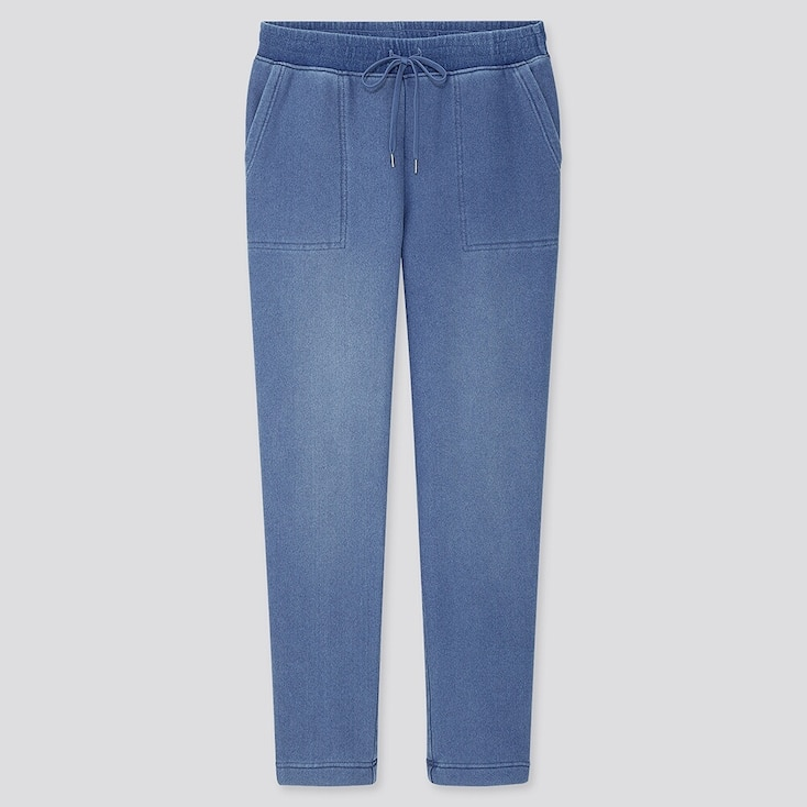 WOMEN PILE-LINED DENIM JERSEY PANTS, BLUE, large