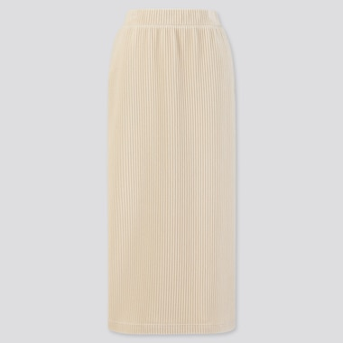 WOMEN CORDUROY LONG NARROW SKIRT, OFF WHITE, medium