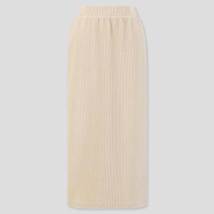 WOMEN CORDUROY LONG NARROW SKIRT, OFF WHITE, large