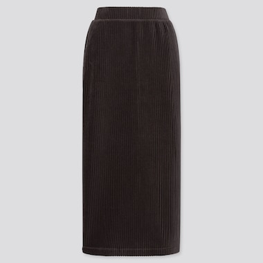 WOMEN CORDUROY LONG NARROW SKIRT, DARK GRAY, medium
