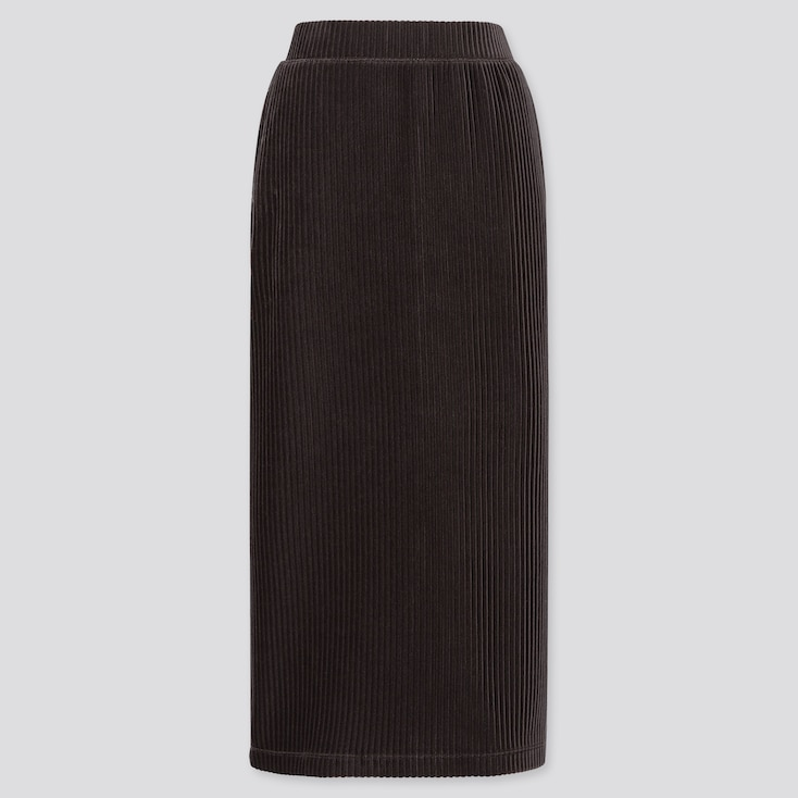 WOMEN CORDUROY LONG NARROW SKIRT, DARK GRAY, large